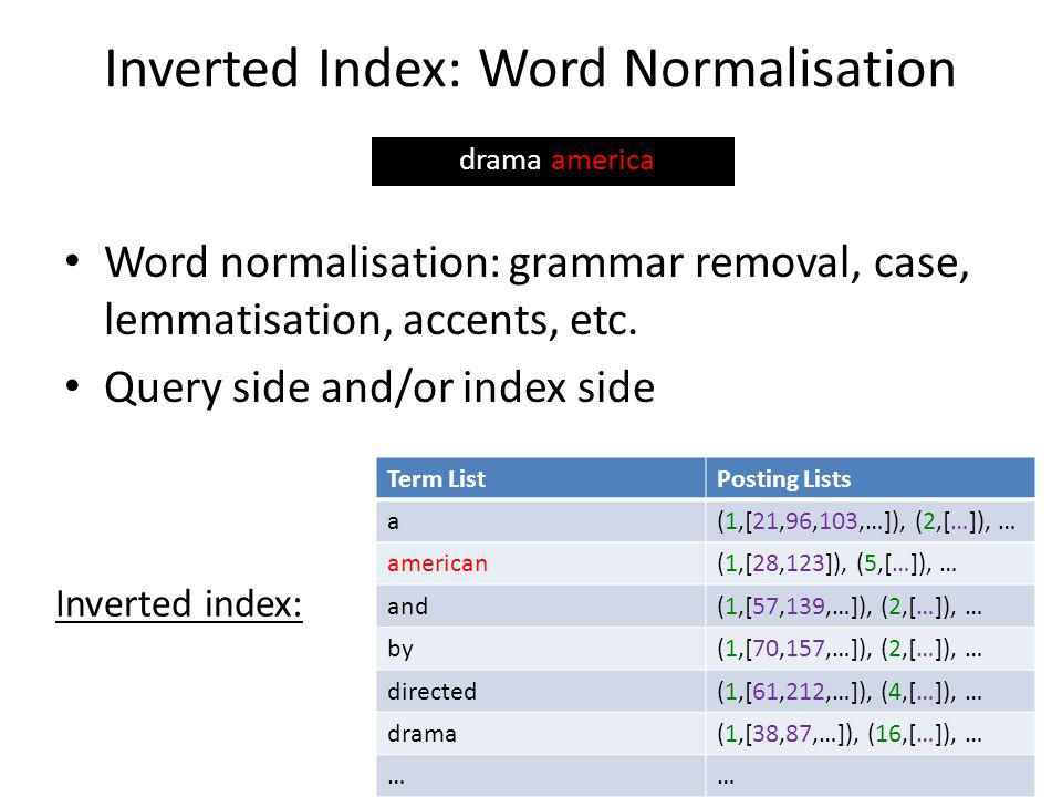 Inverted Index: Word Normalisation Word normalisation: grammar removal, case, lemmatisation, accents, etc.