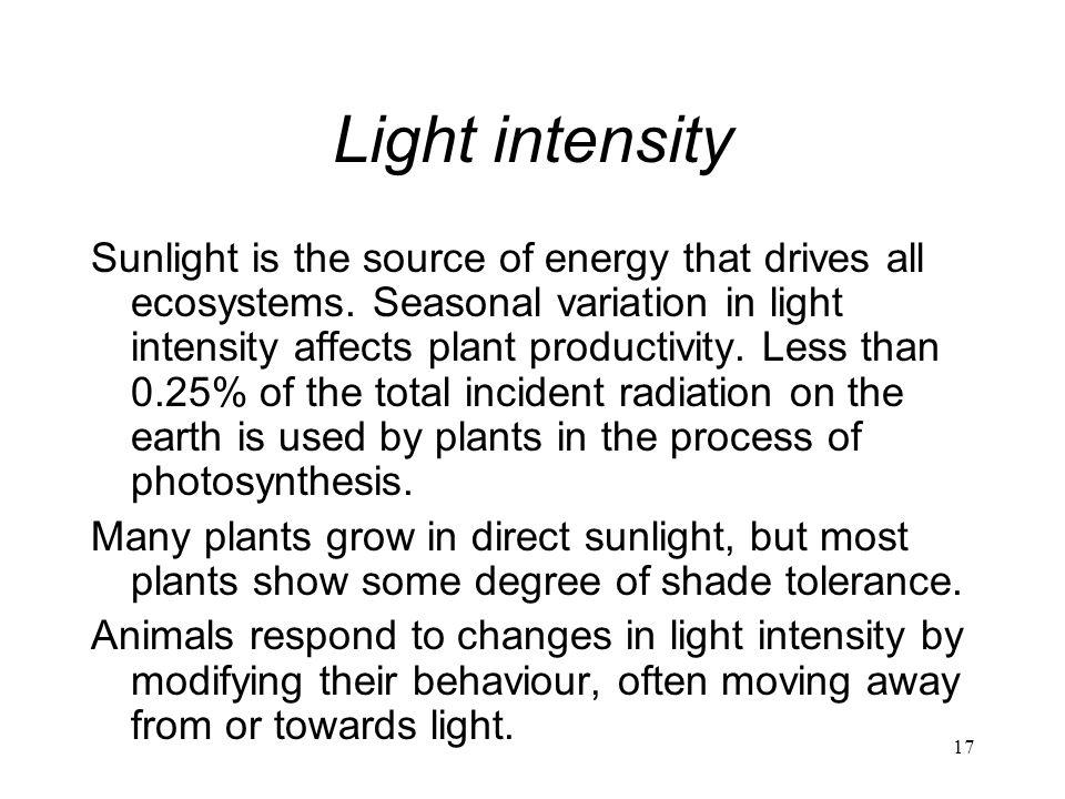 17 Light intensity Sunlight is the source of energy that drives all ecosystems. Seasonal variation in light intensity affects plant productivity. Less