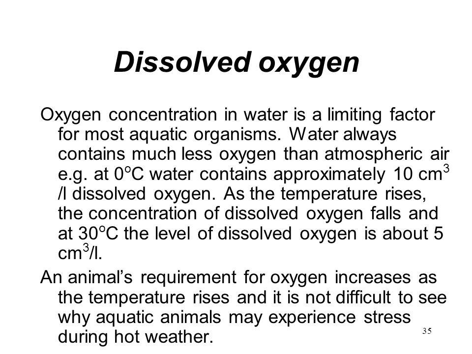 35 Dissolved oxygen Oxygen concentration in water is a limiting factor for most aquatic organisms. Water always contains much less oxygen than atmosph