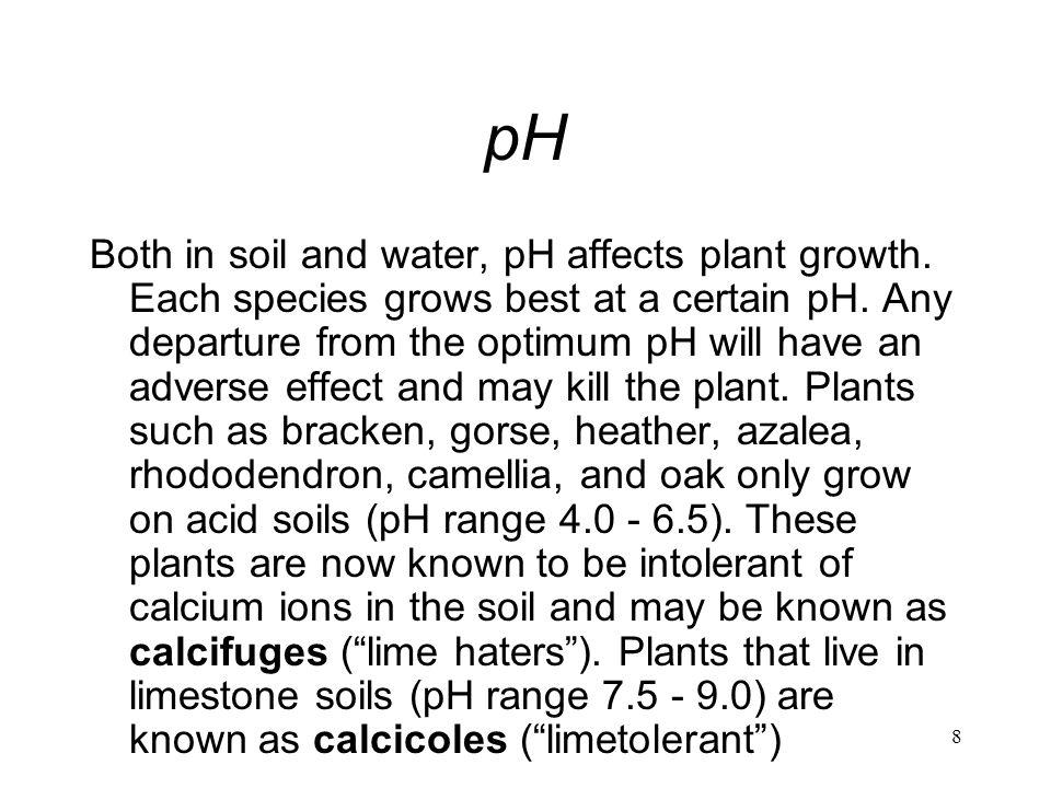 8 pH Both in soil and water, pH affects plant growth. Each species grows best at a certain pH. Any departure from the optimum pH will have an adverse
