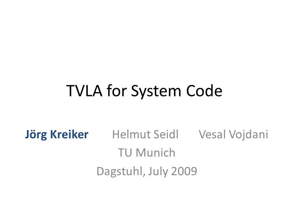 TVLA for System Code Jörg KreikerHelmut SeidlVesal Vojdani TU Munich Dagstuhl, July 2009