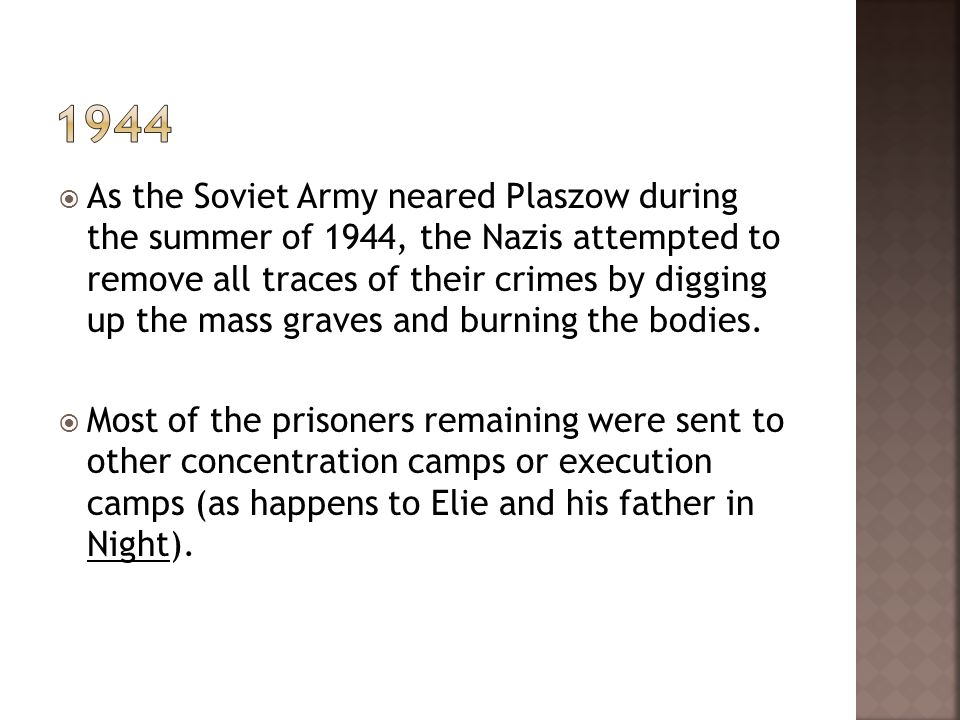 As the Soviet Army neared Plaszow during the summer of 1944, the Nazis attempted to remove all traces of their crimes by digging up the mass graves an