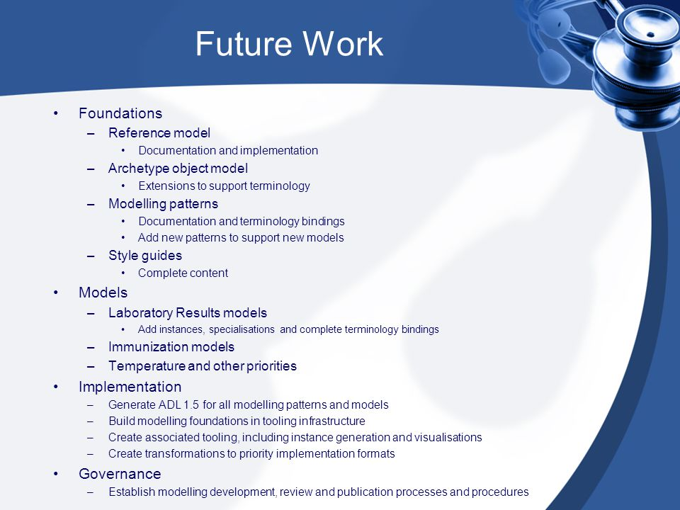 Future Work Foundations –Reference model Documentation and implementation –Archetype object model Extensions to support terminology –Modelling pattern