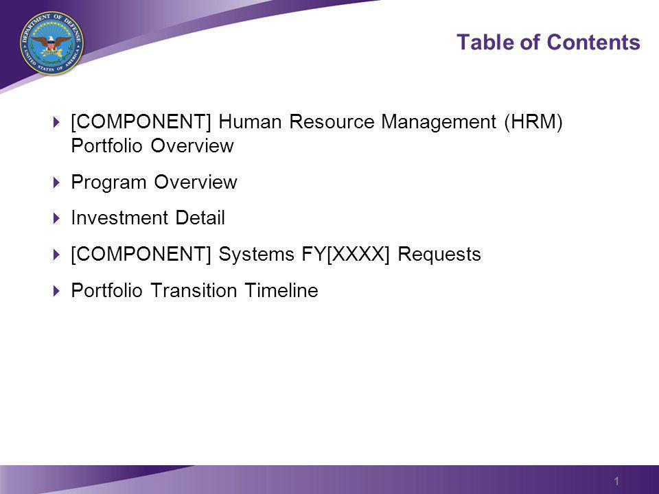 Table of Contents [COMPONENT] Human Resource Management (HRM) Portfolio Overview Program Overview Investment Detail [COMPONENT] Systems FY[XXXX] Reque