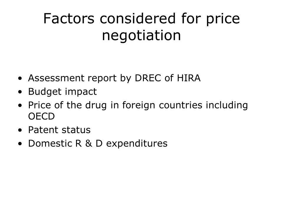 Factors considered for price negotiation Assessment report by DREC of HIRA Budget impact Price of the drug in foreign countries including OECD Patent status Domestic R & D expenditures