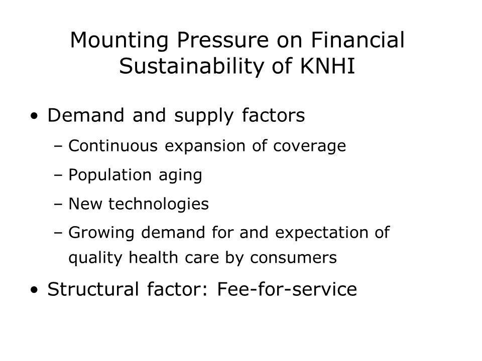 Mounting Pressure on Financial Sustainability of KNHI Demand and supply factors –Continuous expansion of coverage –Population aging –New technologies –Growing demand for and expectation of quality health care by consumers Structural factor: Fee-for-service