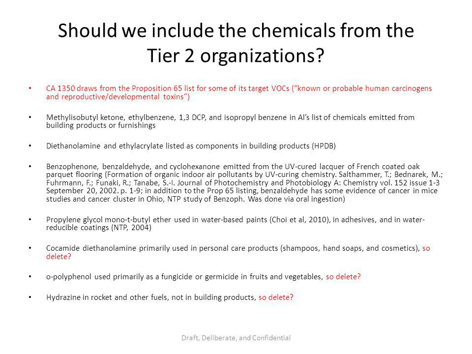 Should we include the chemicals from the Tier 2 organizations.