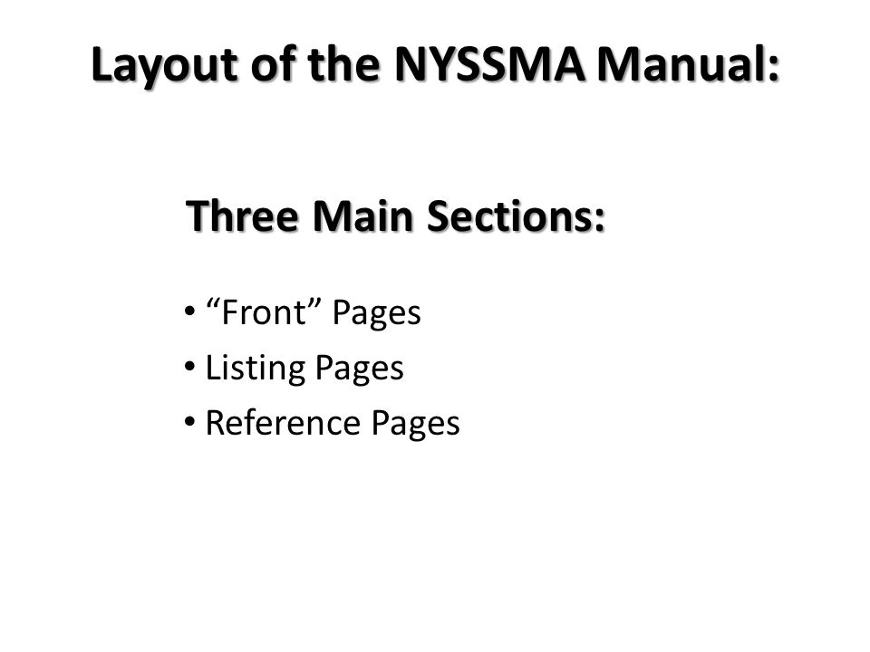 Layout of the NYSSMA Manual: Three Main Sections: Front Pages Listing Pages Reference Pages