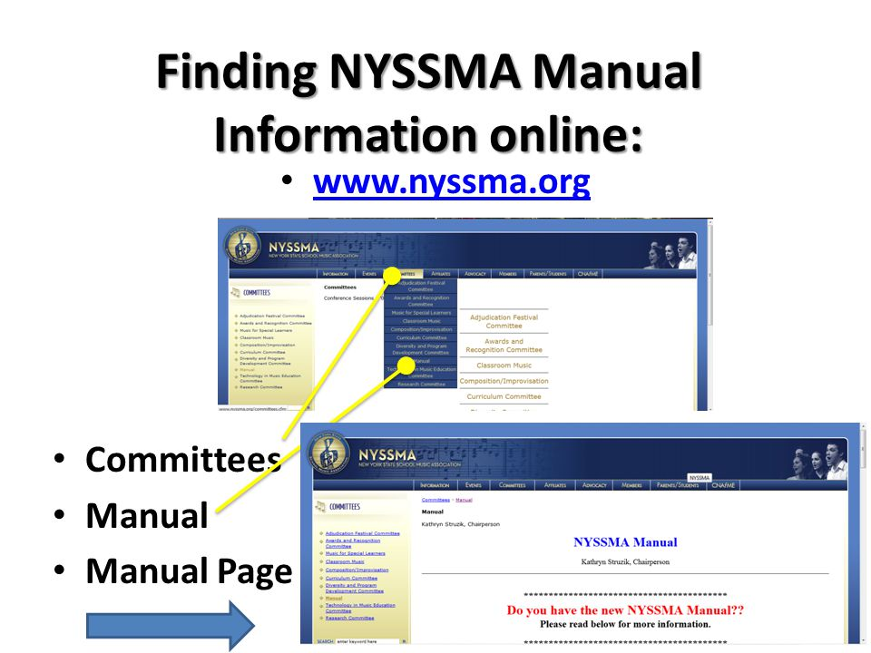 Finding NYSSMA Manual Information online: www.nyssma.org Committees Manual Manual Page
