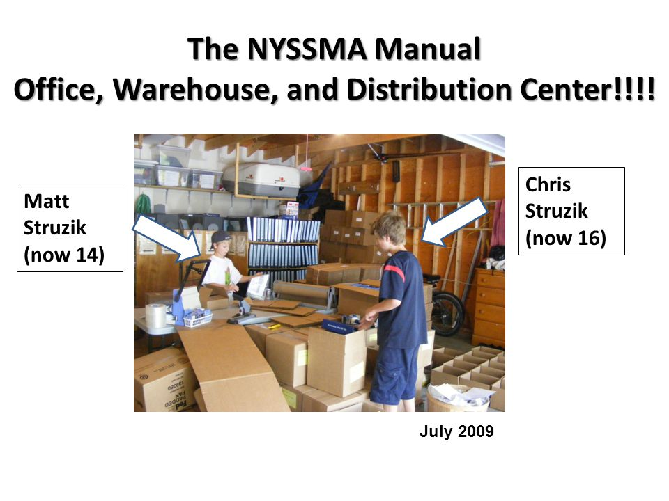 The NYSSMA Manual Office, Warehouse, and Distribution Center!!!! Chris Struzik (now 16) Matt Struzik (now 14) July 2009