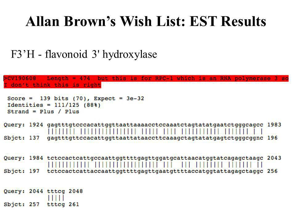 F3H - flavonoid 3 hydroxylase Allan Browns Wish List: EST Results
