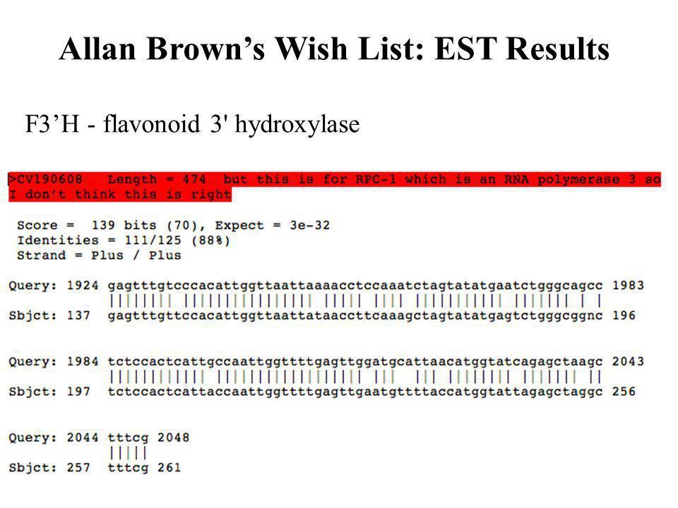 F3H - flavonoid 3' hydroxylase Allan Browns Wish List: EST Results