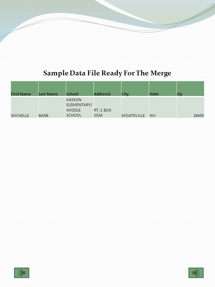 Sample Excel File (The file you receive will have all of these headings). Modify the excel file and move columns/delete columns as appropriate. WVEI S