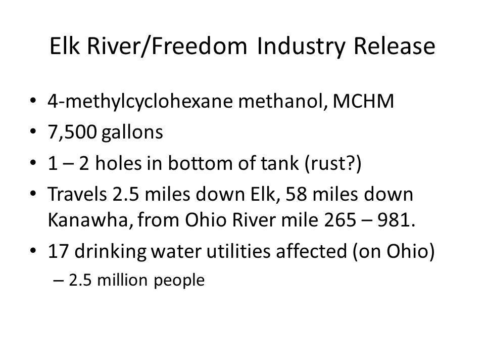 4-methylcyclohexane methanol, MCHM 7,500 gallons 1 – 2 holes in bottom of tank (rust?) Travels 2.5 miles down Elk, 58 miles down Kanawha, from Ohio River mile 265 – 981.