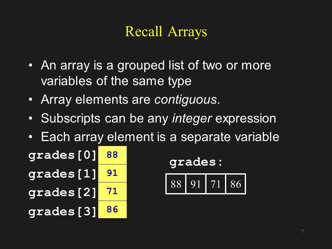 8 Linked-List linked-list of grades: 88917186 88917186 array of grades: The data could be held in a struct containing an integer and a pointer The data here is held in an array of integers What is the data type of the pointer.