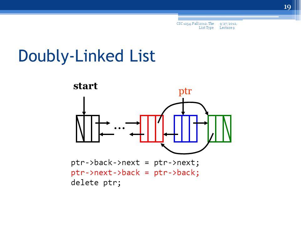19 Doubly-Linked List start … ptr ptr->back->next = ptr->next; ptr->next->back = ptr->back; delete ptr; 9/27/2012, Lecture 9 CSC 1254, Fall 2012, The