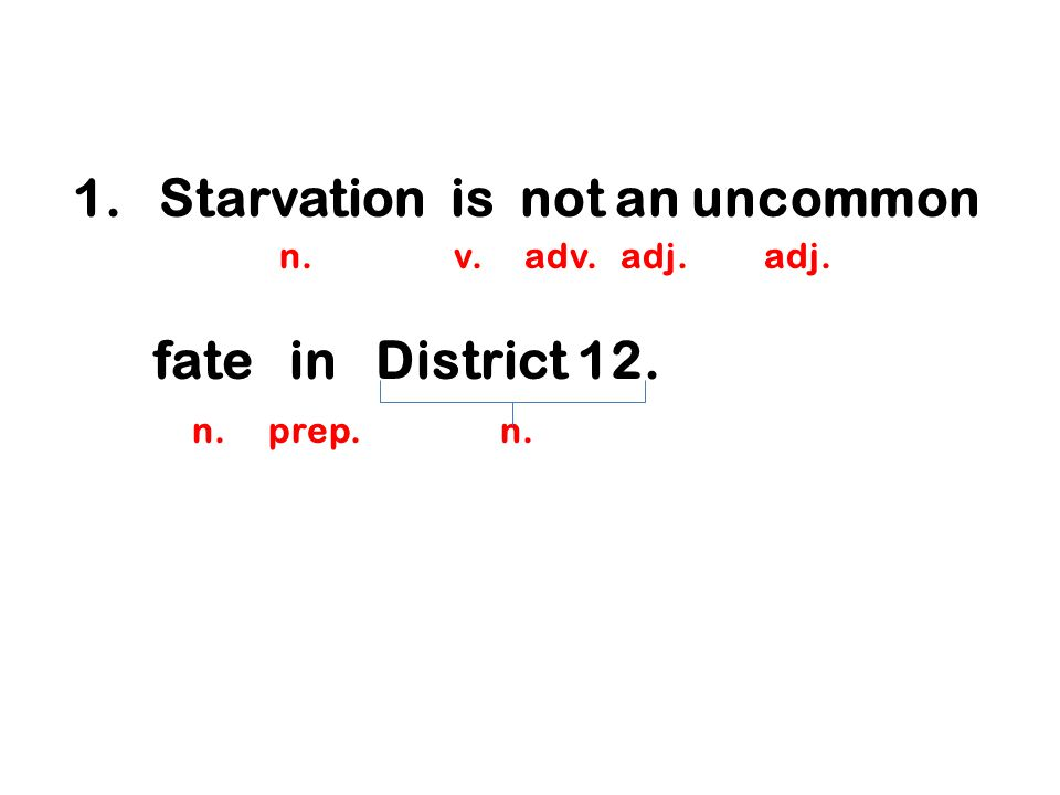 1.Starvation is not an uncommon n. v. adv. adj. adj. fate in District 12. n. prep. n.
