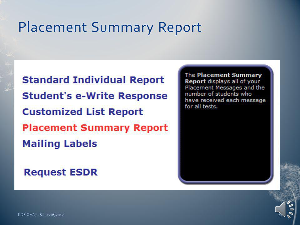 KDE:OAA:js & pp:2/6/201220 CLR Name of Report comes from Customized List Name