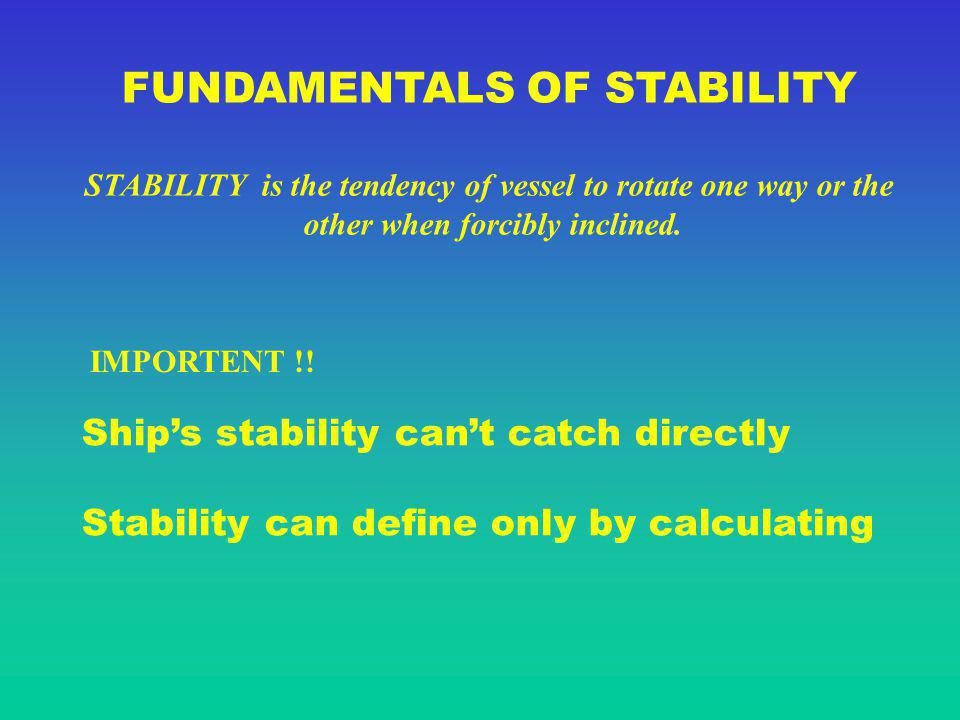 SHIPS STABILITY VARIATIONS LOADING CARGO AT DECK C0C0 G0G0 m0m0 h0h0 STABILITY REFERENCES POINTS AFTER LOADING P1P1 P2P2 G1G1 m1m1 h1h1 h 0 > h 1 C1C1