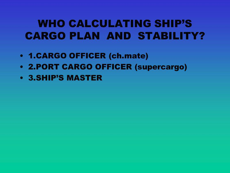 TRIM Trim means different between draft fore TF and draft aft TAF T F0 T AF0 WL W1W1 L1L1 P T F1 T AF1 SHIPS TRIM AFTER SHIFTING CARGO P lxlx d = P l x D H L L d SHIPS STABILITY VARIATIONS