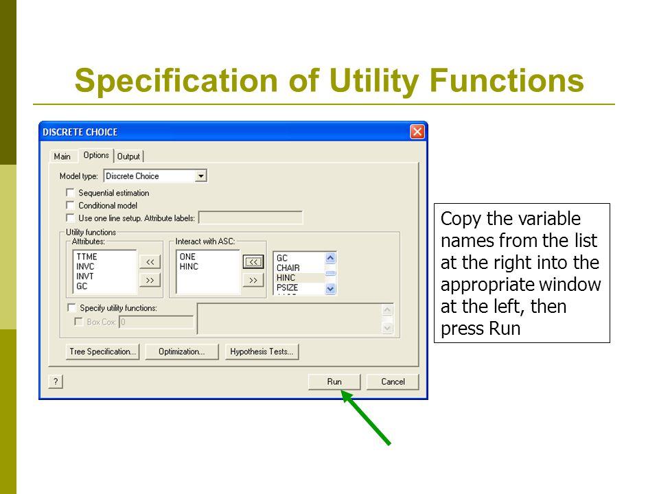 Random Effects in Utility Functions RPLogit ; lhs=mode ; choices=air,train,bus,car ; rhs=gc,ttme ; rh2=one ; rpl ; maxit=50;pts=25;halton ; pds=5 ; fcn=a_air(n),a_train(n),a_bus(n) ; Correlated $ Model has U(i,j,t) = x(i,j,t) + e(i,j,t) + w(i,j) w(i,j) is constant across time, correlated across utilities