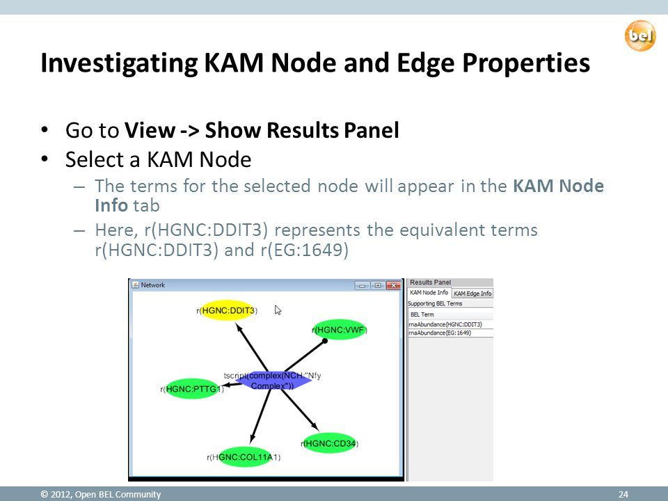 Investigating KAM Node and Edge Properties Go to View -> Show Results Panel Select a KAM Node – The terms for the selected node will appear in the KAM Node Info tab – Here, r(HGNC:DDIT3) represents the equivalent terms r(HGNC:DDIT3) and r(EG:1649) © 2012, Open BEL Community24