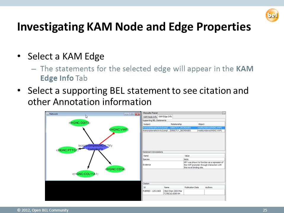Investigating KAM Node and Edge Properties Select a KAM Edge – The statements for the selected edge will appear in the KAM Edge Info Tab Select a supporting BEL statement to see citation and other Annotation information © 2012, Open BEL Community25