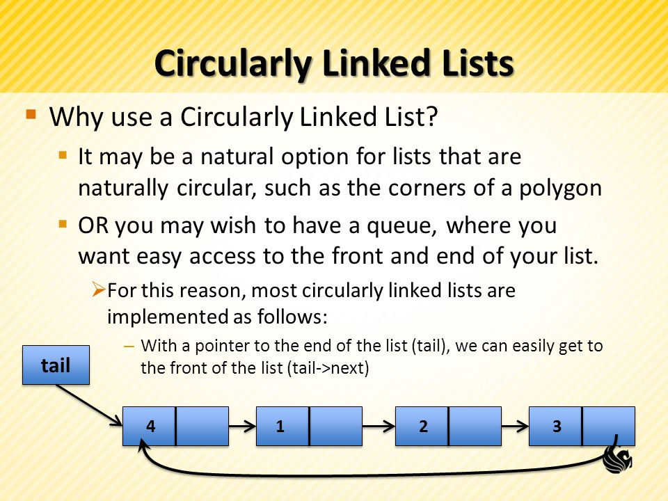 Circularly Linked Lists Why use a Circularly Linked List.