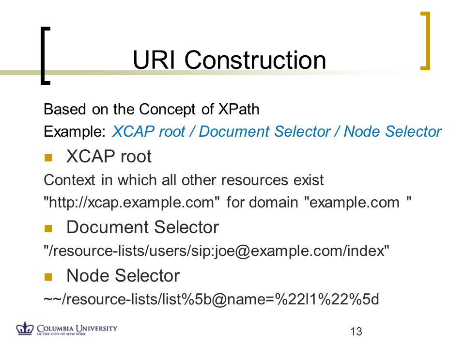 URI Construction Based on the Concept of XPath Example: XCAP root / Document Selector / Node Selector XCAP root Context in which all other resources exist   for domain example.com Document Selector Node Selector 13