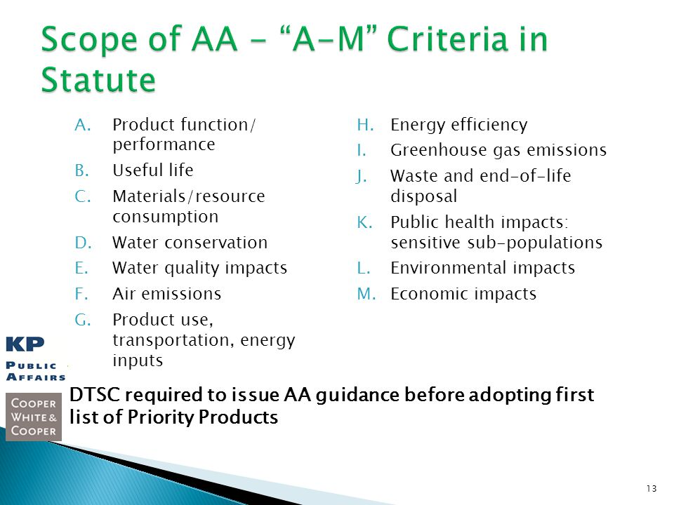 A.Product function/ performance B.Useful life C.Materials/resource consumption D.Water conservation E.Water quality impacts F.Air emissions G.Product use, transportation, energy inputs H.Energy efficiency I.Greenhouse gas emissions J.Waste and end-of-life disposal K.Public health impacts: sensitive sub-populations L.Environmental impacts M.Economic impacts 13 DTSC required to issue AA guidance before adopting first list of Priority Products