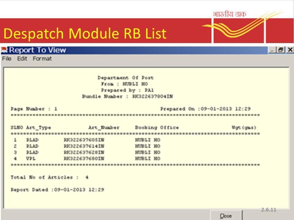 Despatch Module RB List 2.6.11