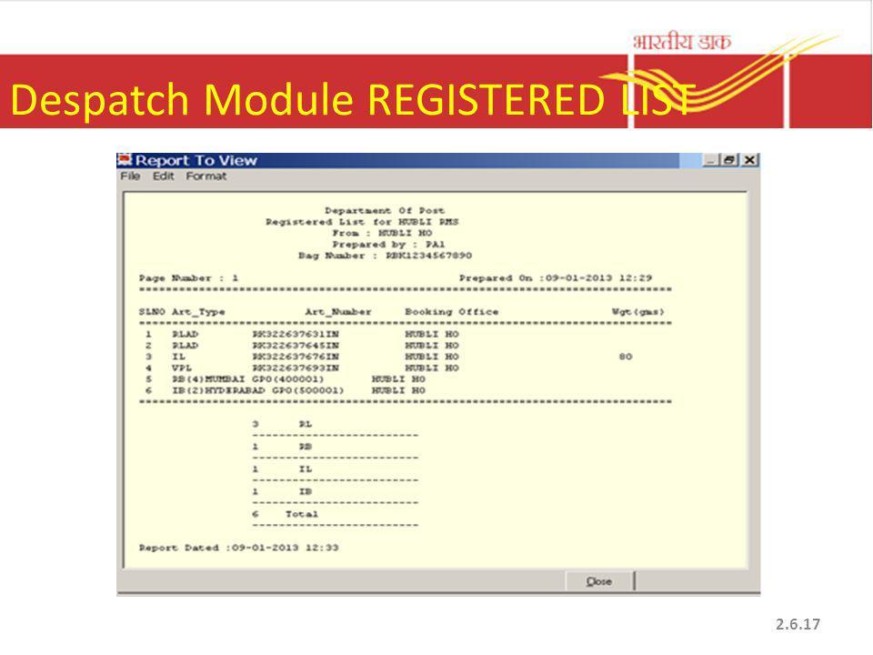 Despatch Module REGISTERED LIST 2.6.17
