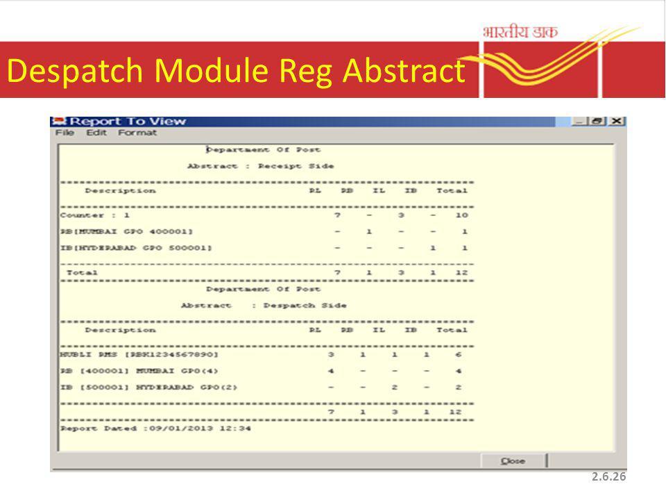 Despatch Module Reg Abstract 2.6.26