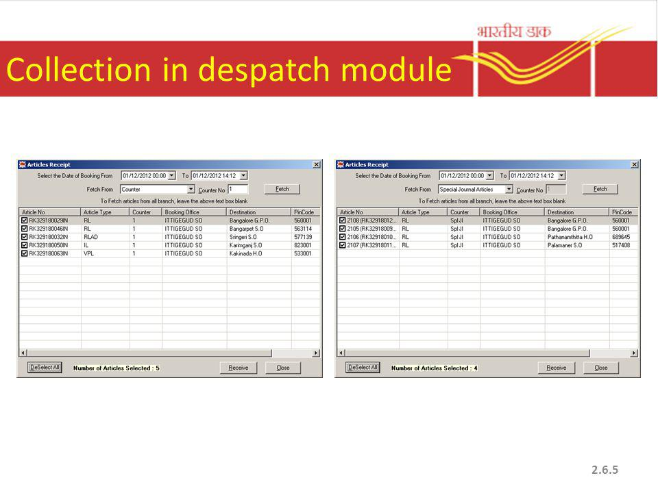 Collection in despatch module 2.6.5