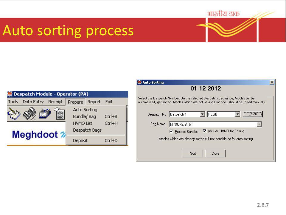 Auto sorting process 2.6.7