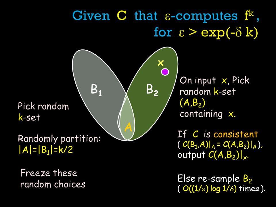 B1B1 B2B2 A Pick random k-set x Randomly partition: |A|=|B 1 |=k/2 Freeze these random choices On input x, Pick random k-set (A,B 2 ) containing x.