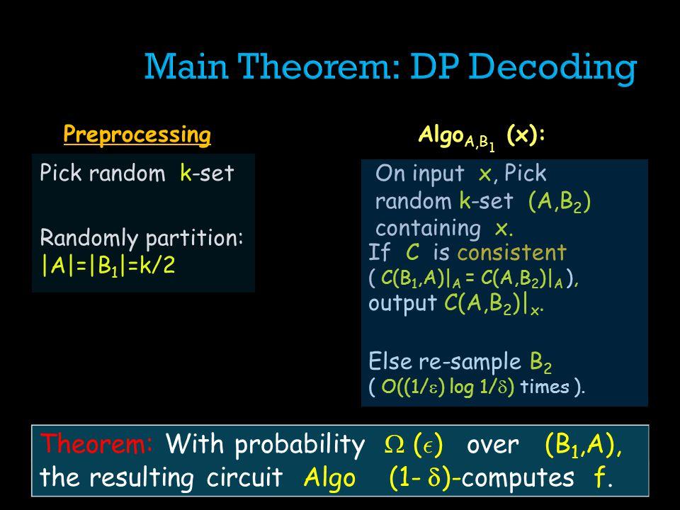 Pick random k-set Randomly partition: |A|=|B 1 |=k/2 Preprocessing On input x, Pick random k-set (A,B 2 ) containing x.