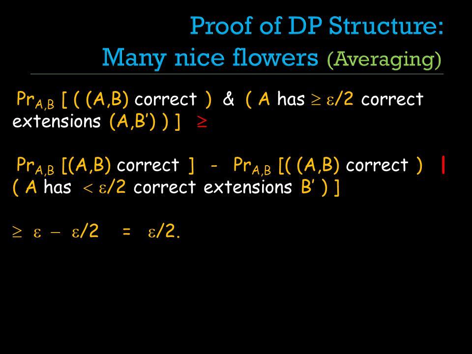 Pr A,B [ ( (A,B) correct ) & ( A has /2 correct extensions (A,B) ) ] Pr A,B [(A,B) correct ] - Pr A,B [( (A,B) correct ) | ( A has /2 correct extensio