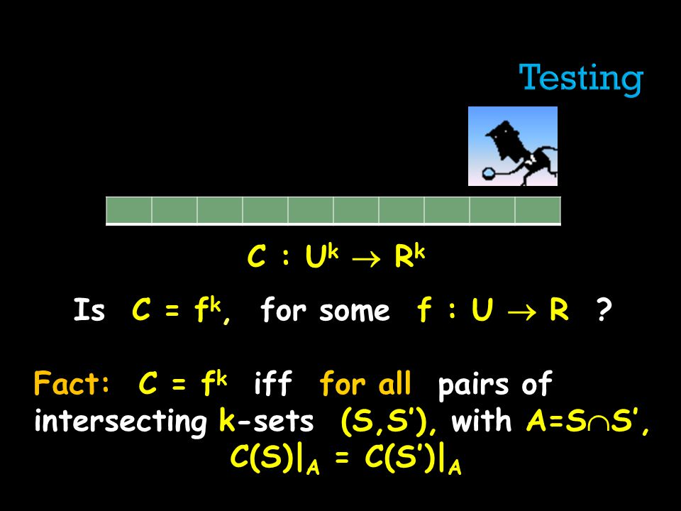 C : U k R k Is C = f k, for some f : U R ? Fact: C = f k iff for all pairs of intersecting k-sets (S,S), with A=S S, C(S)| A = C(S)| A