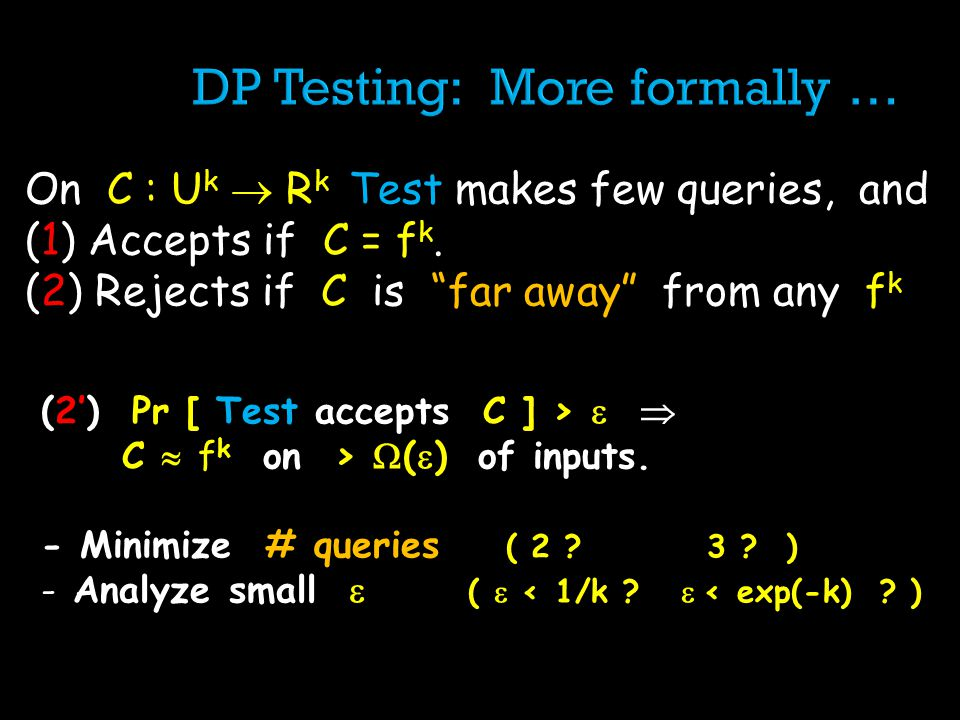 On C : U k R k Test makes few queries, and (1) Accepts if C = f k. (2) Rejects if C is far away from any f k (2) Pr [ Test accepts C ] > C f k on > (
