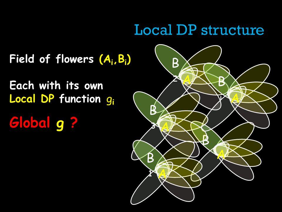 Field of flowers (A i,B i ) Each with its own Local DP function g i Global g ? B AA B2B2 AA BiBi AA B3B3 AA B1B1 AA