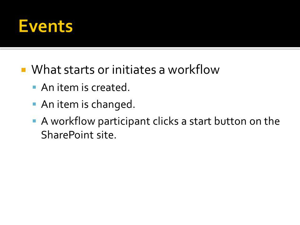 What starts or initiates a workflow An item is created.