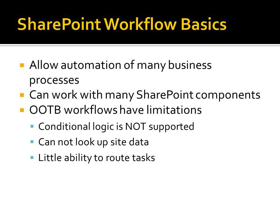 Allow automation of many business processes Can work with many SharePoint components OOTB workflows have limitations Conditional logic is NOT supported Can not look up site data Little ability to route tasks