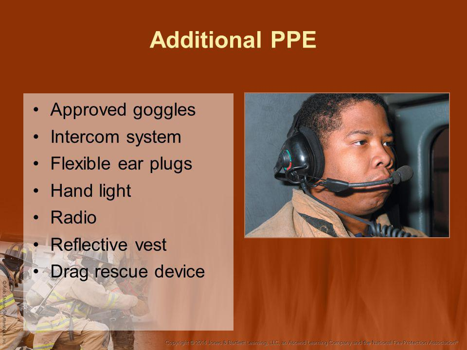 Additional PPE Approved goggles Intercom system Flexible ear plugs Hand light Radio Reflective vest Drag rescue device