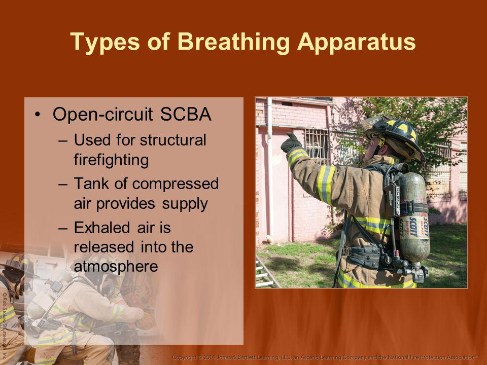 Types of Breathing Apparatus Open-circuit SCBA –Used for structural firefighting –Tank of compressed air provides supply –Exhaled air is released into the atmosphere