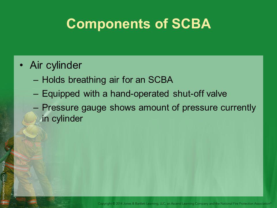 Components of SCBA Air cylinder –Holds breathing air for an SCBA –Equipped with a hand-operated shut-off valve –Pressure gauge shows amount of pressure currently in cylinder