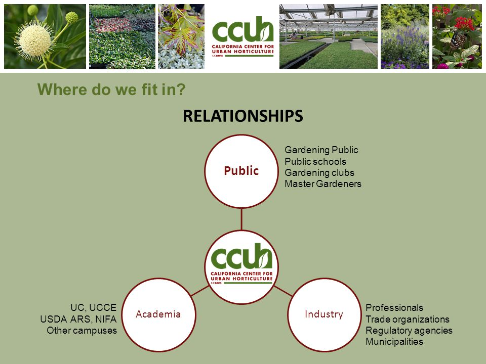 RELATIONSHIPS Where do we fit in? s Public IndustryAcademia Gardening Public Public schools Gardening clubs Master Gardeners Professionals Trade organ