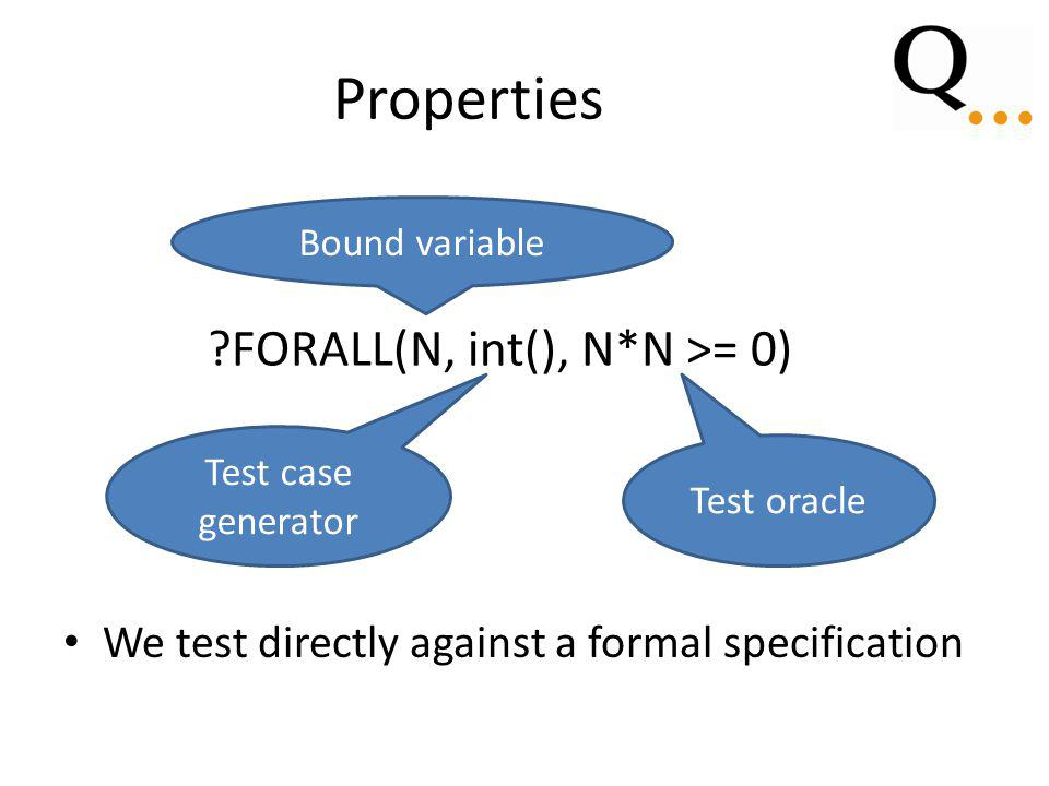 Properties We test directly against a formal specification ?FORALL(N, int(), N*N >= 0) Bound variable Test case generator Test oracle