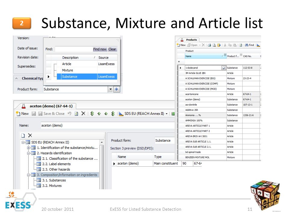 Substance, Mixture and Article list 20 october 2011ExESS for Listed Substance Detection11 2 2