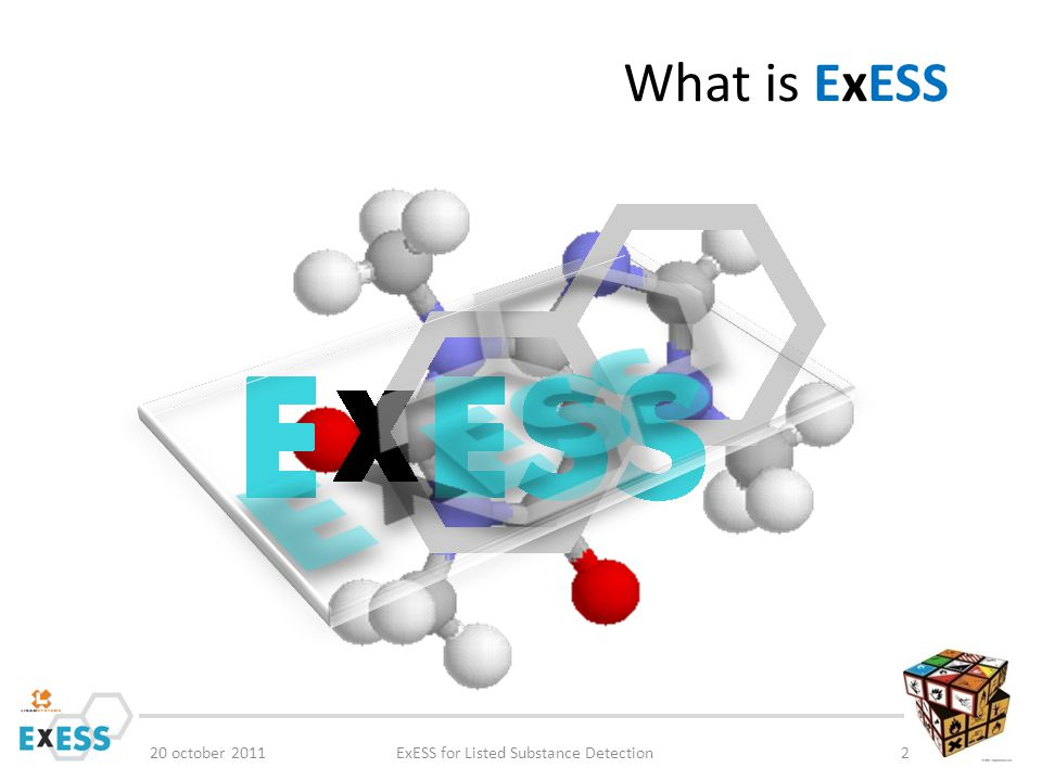 What is ExESS 20 october 2011ExESS for Listed Substance Detection3 ExESS is an IT tool to collect Substances, Mixtures and Articles to support Regulatory and business related reporting, calculation and compliancy checks for Chemicals, called CHEMICALS MANAGEMENT As the ExESS database can collect information on Substances, Mixture compositions and Article BOM structures, it is possible to detect listed substances from any inventory or regulatory database based on unique identifiers as : CAS nr, EC numbers, categories or chemical characteristics